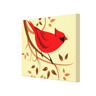 Stylized Red Cardinal Art Canvas Print