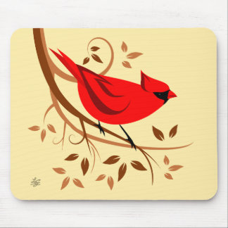 Stylized Red Cardinal Mousepads