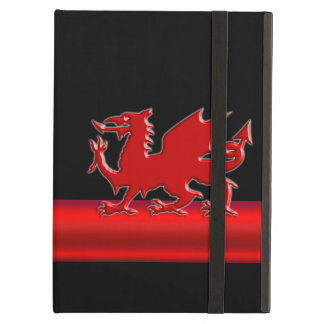 Stylized Red Welsh Dragon, red metallic look strip iPad Air Case