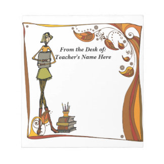 Stylized Retro Teacher  From the Desk OF NAME HERE Notepad
