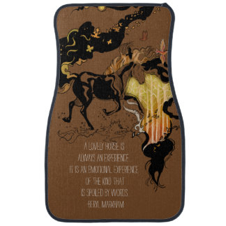 Stylized Silhouette Horse Car Mat