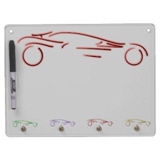 Stylized Sportscar - glowing red neon auto design Dry Erase Board With Keychain Holder