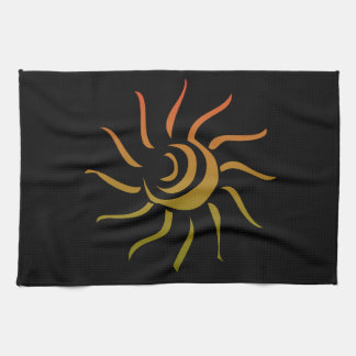 Stylized Sun Upon Black Background Kitchen Towel