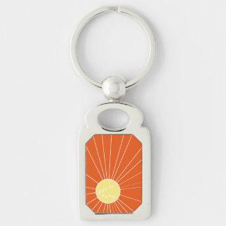 Stylized Sunrise Design Silver-Colored Rectangular Metal Keychain