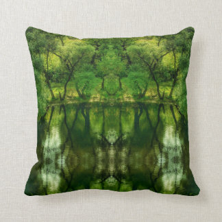 Stylized Super Green Tree Reflections Pillow