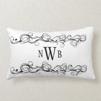 Stylized Swirly Border Monogram Lumbar Pillow