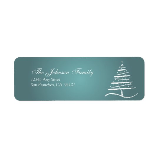 Stylized Tree Holiday Address Labels (slate blue)