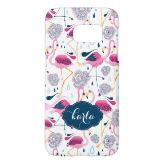 Stylized Tropical Flowers & Flamingos Pattern Samsung Galaxy S7 Case