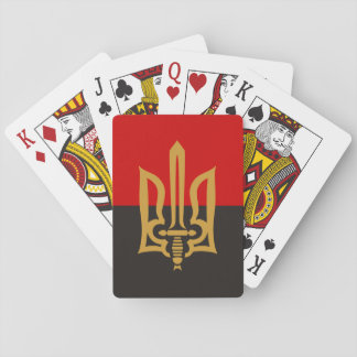 Stylized Tryzub And Red-Black Flag Playing Cards