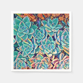 Stylized Turquoise Succulents Paper Napkin
