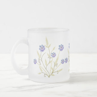 Stylized Wheat and Cornflower Bouquet Frosted Glass Coffee Mug