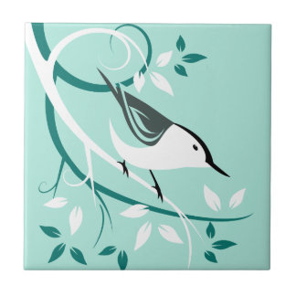 Stylized White Breasted Nuthatch Art Gifts Tiles