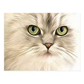 Stylized white cat postcard