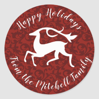 Stylized White Christmas Deer Red Damask Classic Round Sticker