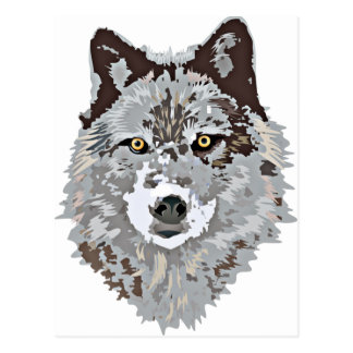 Stylized Wolf Head Postcard