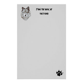 Stylized Wolf Head Stationary Stationery