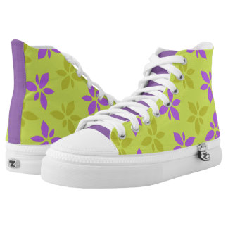 Stylized yellow&purple flowers high tops