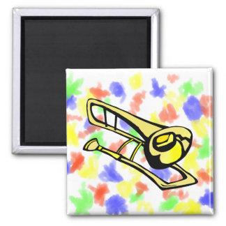 stylized yellow trombone graphic image magnet