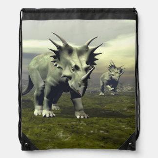 Styracosaurus dinosaurs - 3D render Drawstring Bag