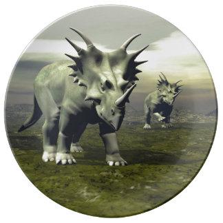 Styracosaurus dinosaurs - 3D render Porcelain Plate