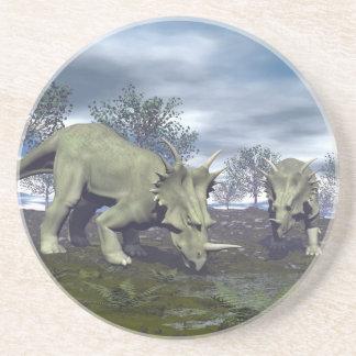 Styracosaurus dinosaurs going to water - 3D render Coaster