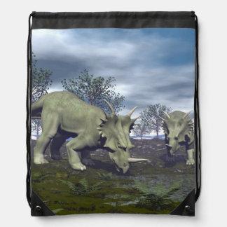 Styracosaurus dinosaurs going to water - 3D render Drawstring Bag