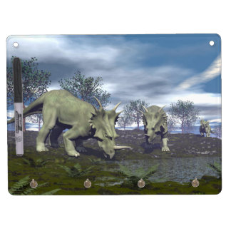 Styracosaurus dinosaurs going to water - 3D render Dry-Erase Board