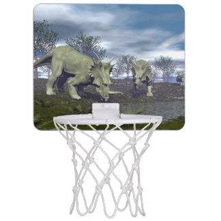 Styracosaurus dinosaurs going to water - 3D render Mini Basketball Hoop