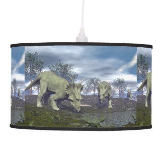 Styracosaurus dinosaurs going to water - 3D render Pendant Lamp