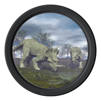 Styracosaurus dinosaurs going to water - 3D render Poker Chips