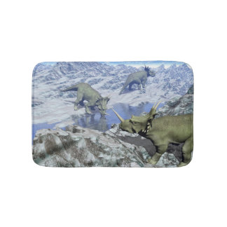 Styracosaurus near water- 3D render Bath Mat