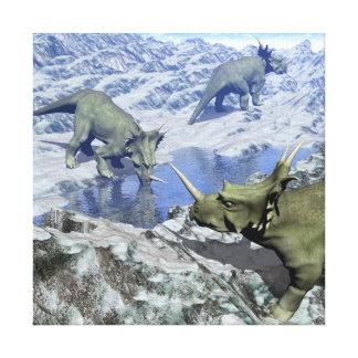 Styracosaurus near water- 3D render Canvas Print