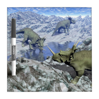 Styracosaurus near water- 3D render Dry Erase Board