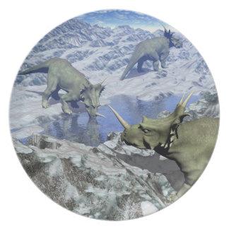 Styracosaurus near water- 3D render Plate