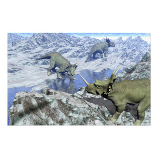 Styracosaurus near water- 3D render Stationery
