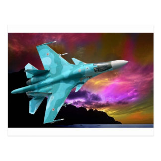 SU-30 RUSSIAN FIGHTER JET POSTCARD