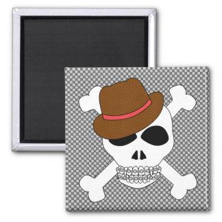 Suave Skull Crossbones with Fedora Magnet