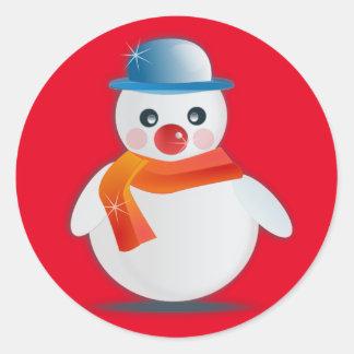 Suave Snowman Classic Round Sticker