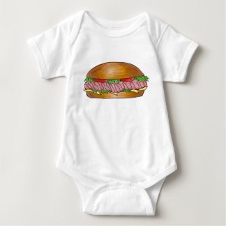Sub Grinder Hoagie Ham Cheese Submarine Sandwich Baby Bodysuit