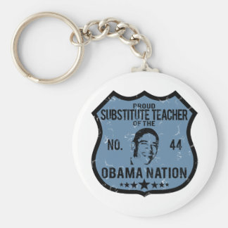 Sub Teacher Obama Nation Basic Round Button Keychain