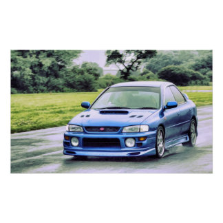 Subaru Impreza racing in the rain Poster