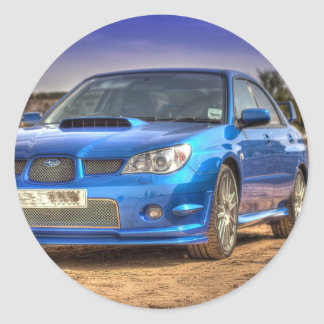 "Subaru Impreza STi ""Hawkeye"" in Blue Round Sticker"