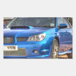 "Subaru Impreza STi ""Hawkeye"" in Blue Rectangular Sticker"
