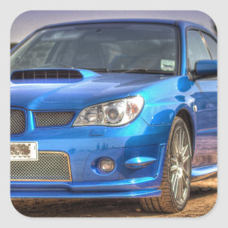 """Subaru Impreza STi """"Hawkeye"""" in Blue Square Sticker"""
