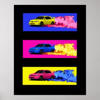 Subaru STi Drift in Color Poster