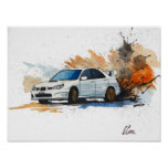 Subaru STi Drift Watercolor Painting Poster