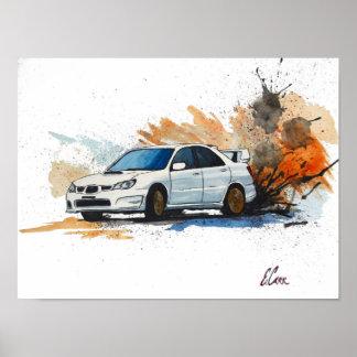 Subaru STi Drift Watercolor Painting Poster