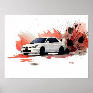 Subaru STi Gouache Painting Poster