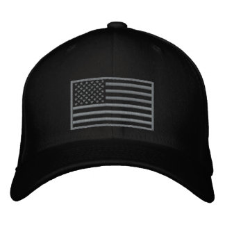 Subdued Colours U.S. Flag Embroidered Hat (Black)