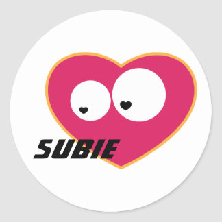 Subie Love Classic Round Sticker